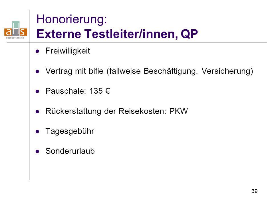 Honorierung: Externe Testleiter/innen, QP