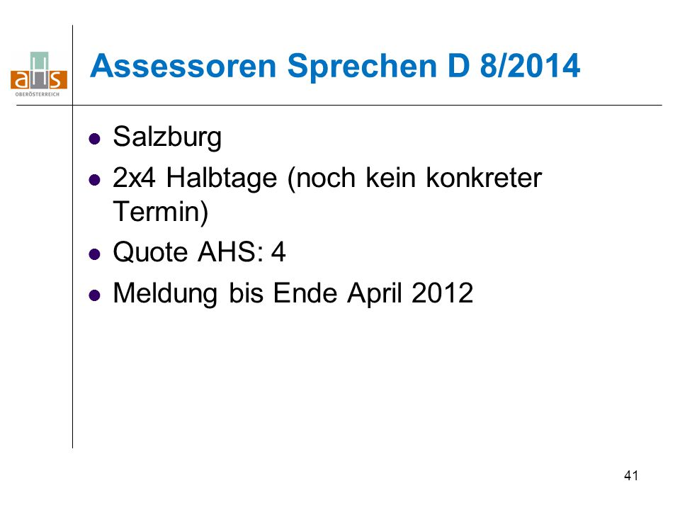 Assessoren Sprechen D 8/2014