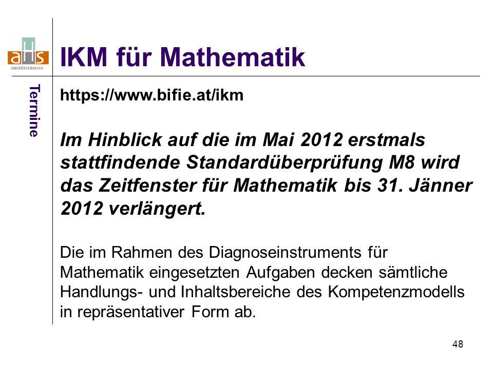 IKM für Mathematik Termine. https://www.bifie.at/ikm.