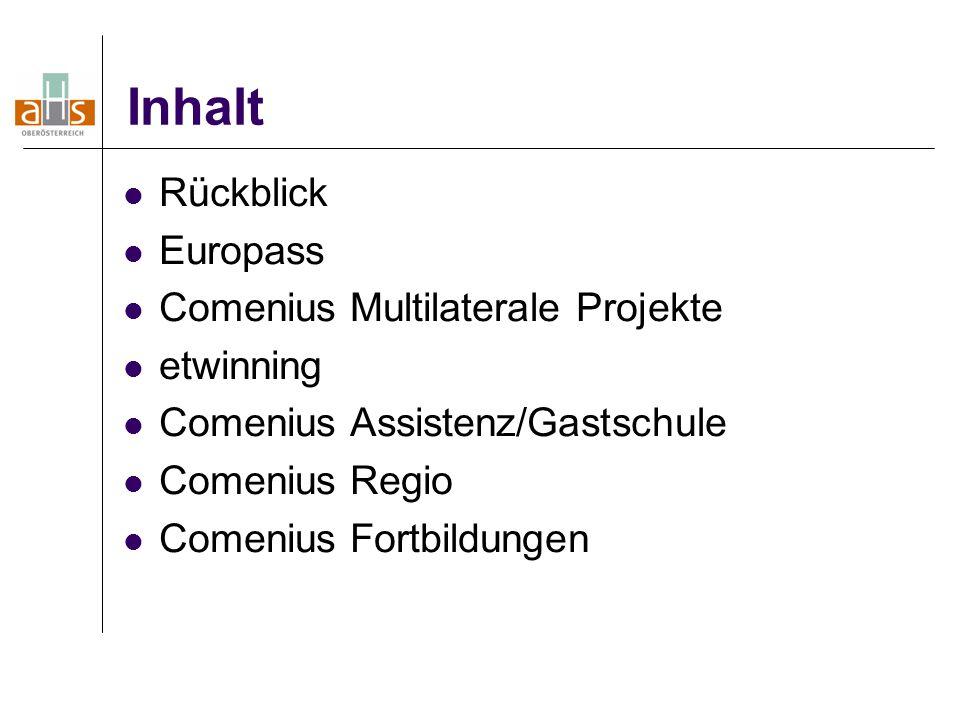 Inhalt Rückblick Europass Comenius Multilaterale Projekte etwinning