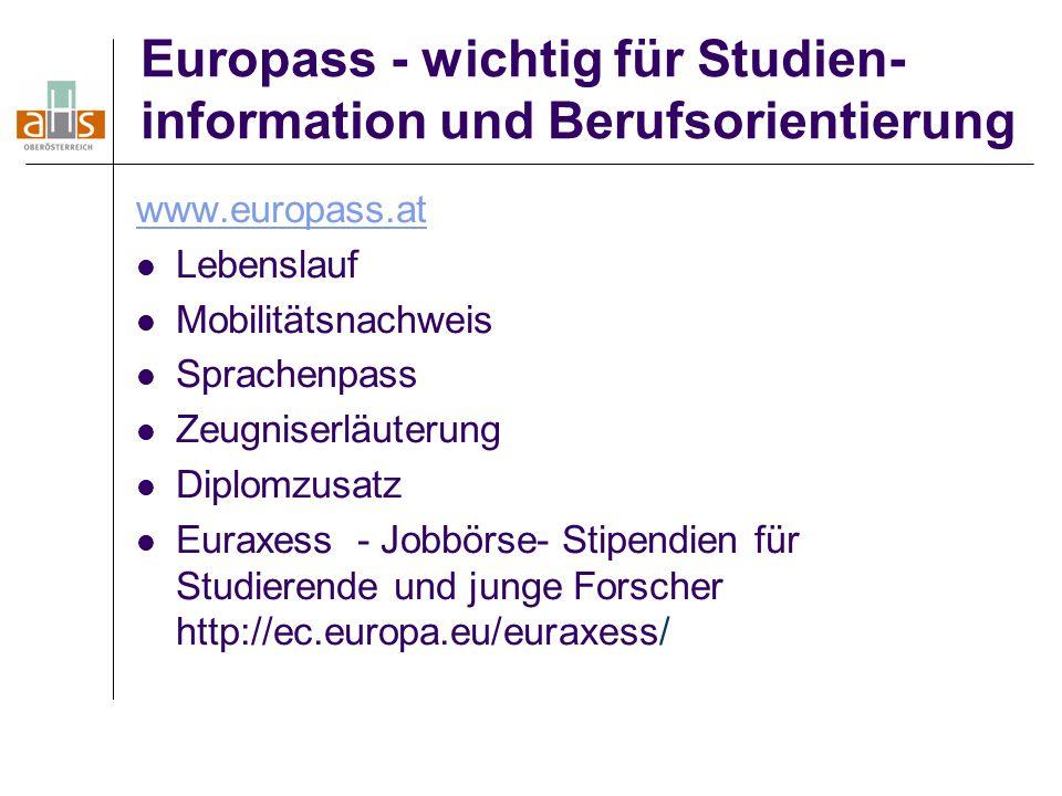 Europass - wichtig für Studien-information und Berufsorientierung