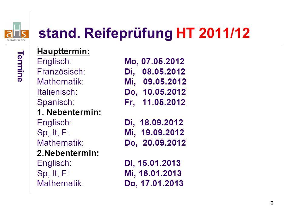 stand. Reifeprüfung HT 2011/12