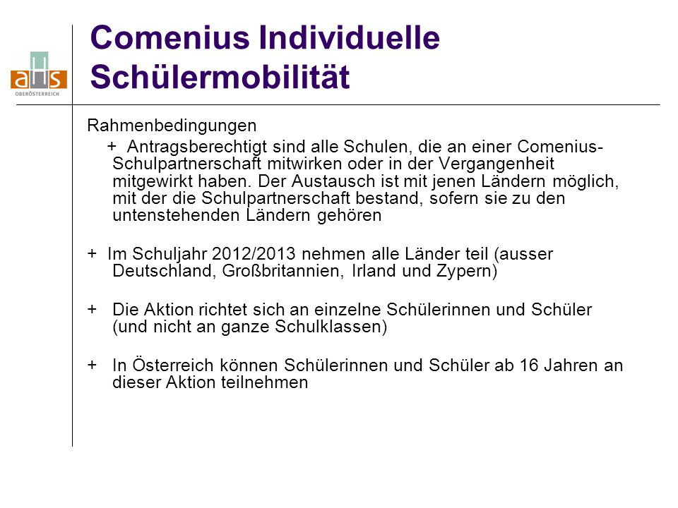 Comenius Individuelle Schülermobilität