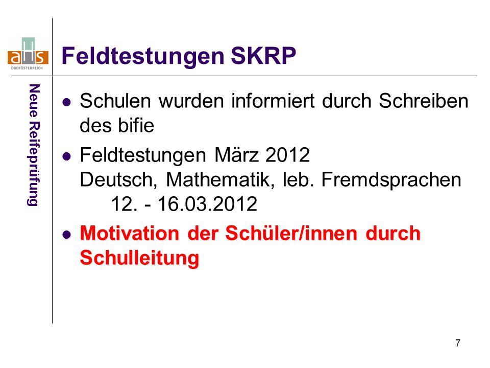 Feldtestungen SKRP Schulen wurden informiert durch Schreiben des bifie