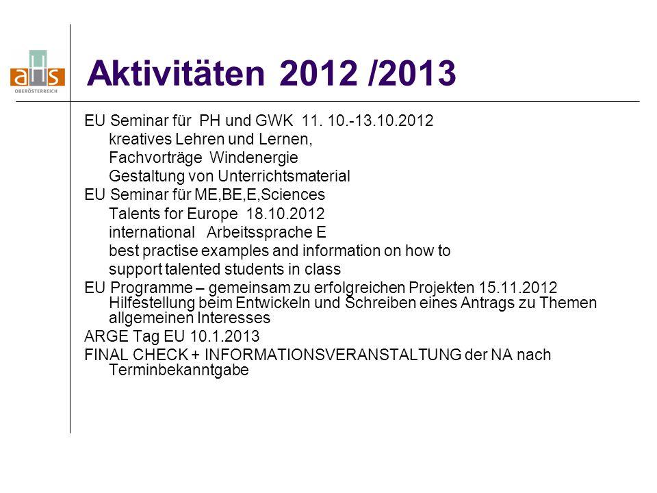 Aktivitäten 2012 /2013 EU Seminar für PH und GWK 11. 10.-13.10.2012