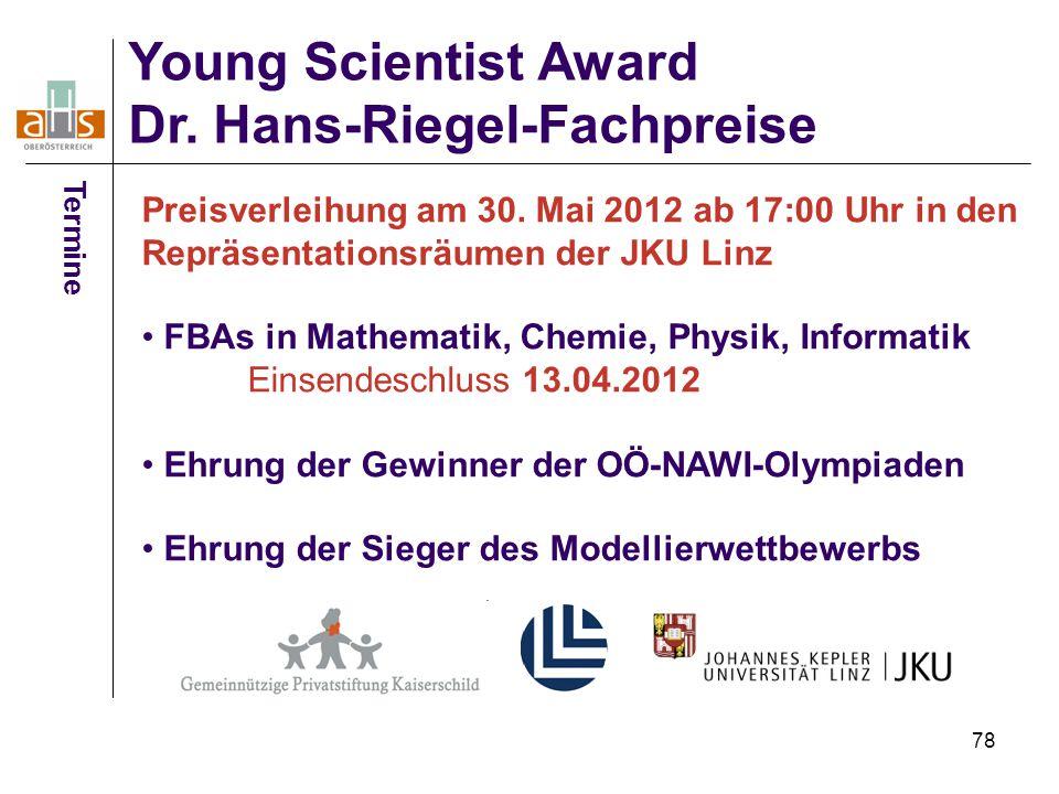 Young Scientist Award Dr. Hans-Riegel-Fachpreise