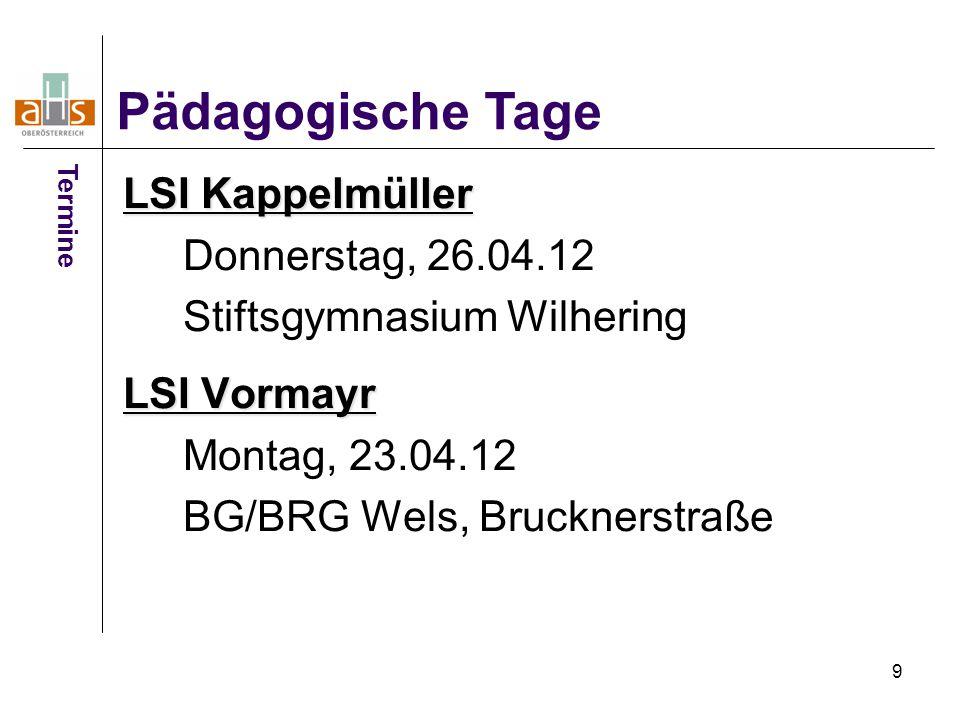Pädagogische Tage LSI Kappelmüller Donnerstag, 26.04.12