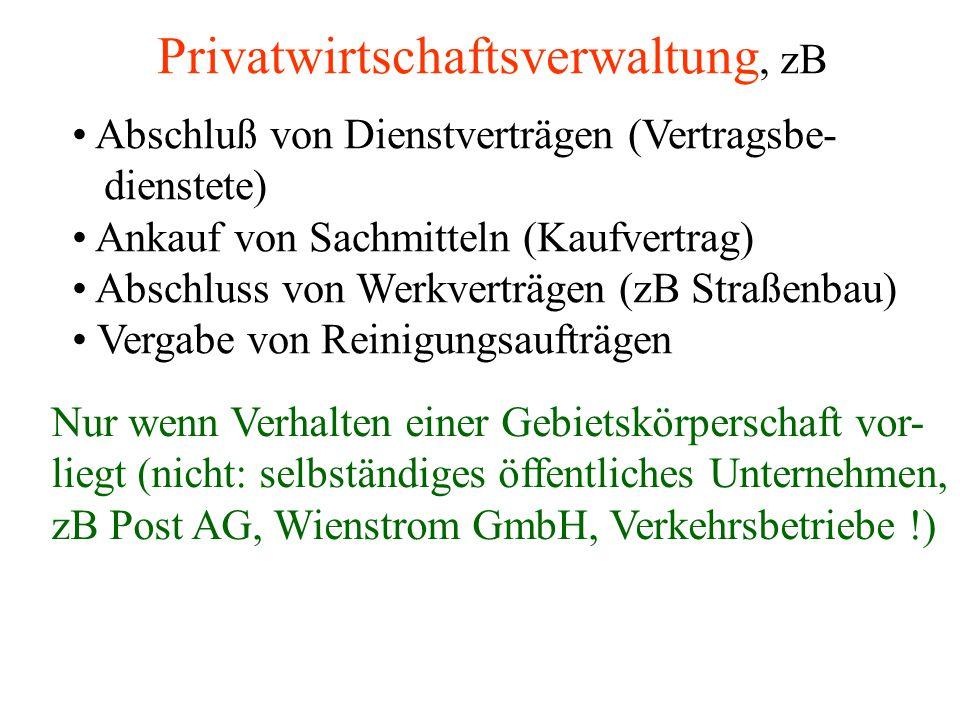 Privatwirtschaftsverwaltung, zB