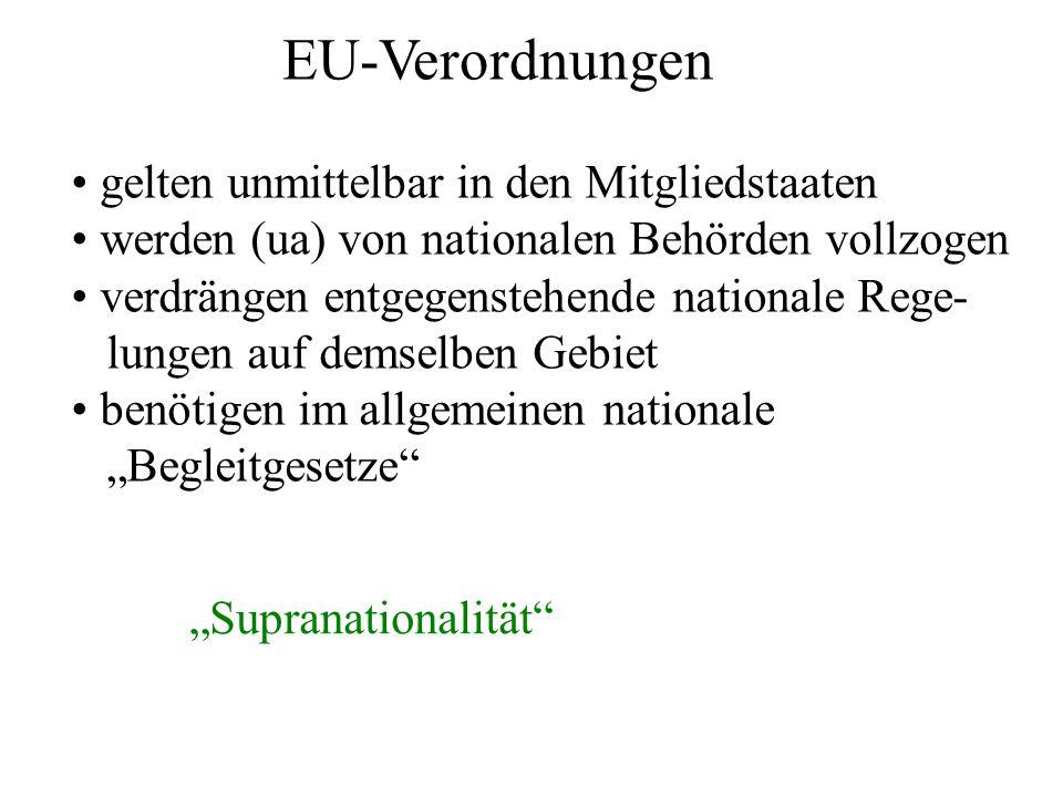 EU-Verordnungen gelten unmittelbar in den Mitgliedstaaten