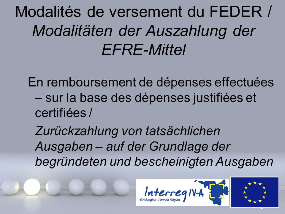 Modalités de versement du FEDER / Modalitäten der Auszahlung der EFRE-Mittel
