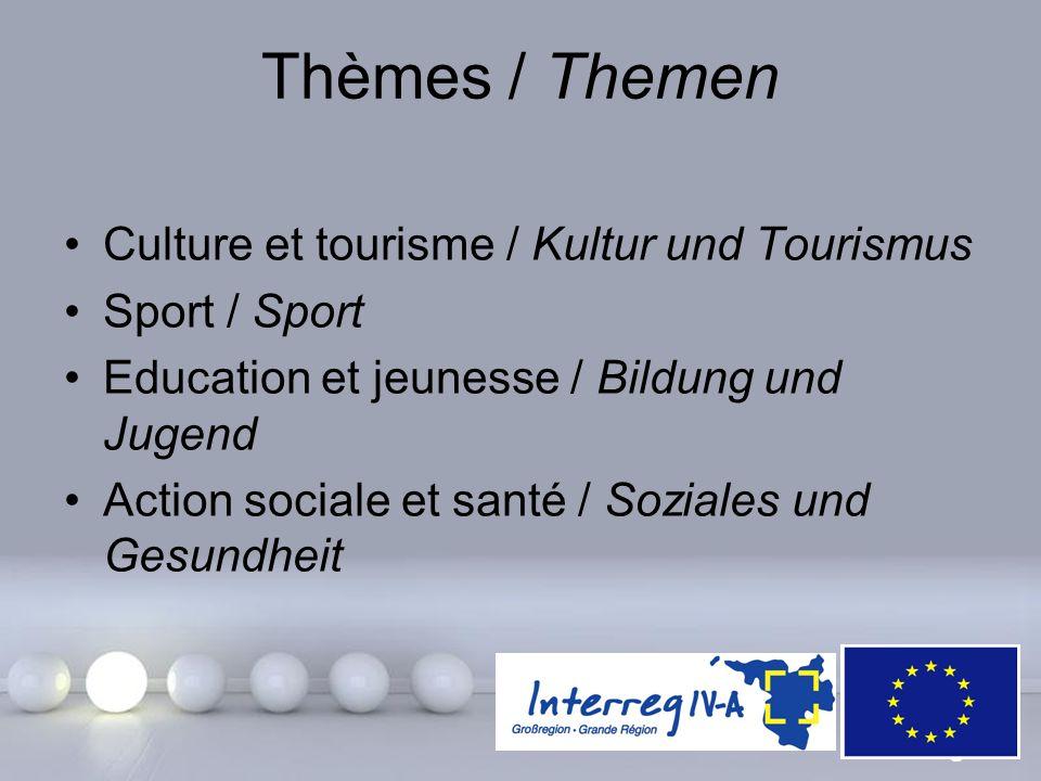 Thèmes / Themen Culture et tourisme / Kultur und Tourismus