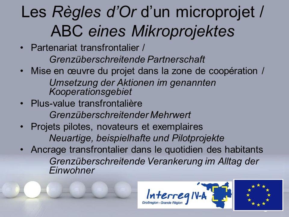 Les Règles d'Or d'un microprojet / ABC eines Mikroprojektes