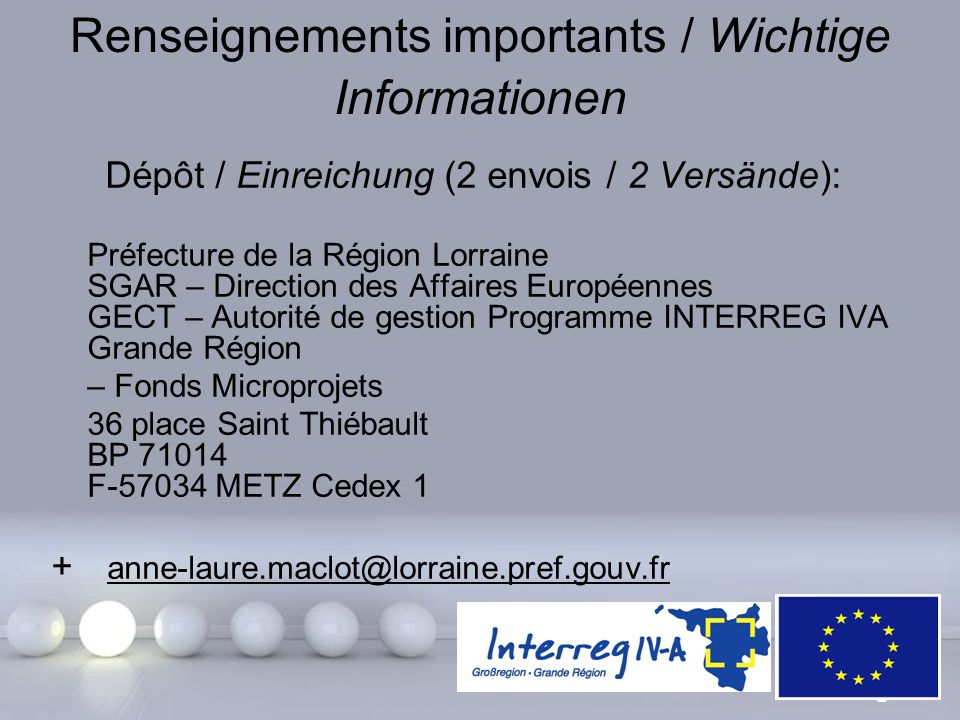Renseignements importants / Wichtige Informationen