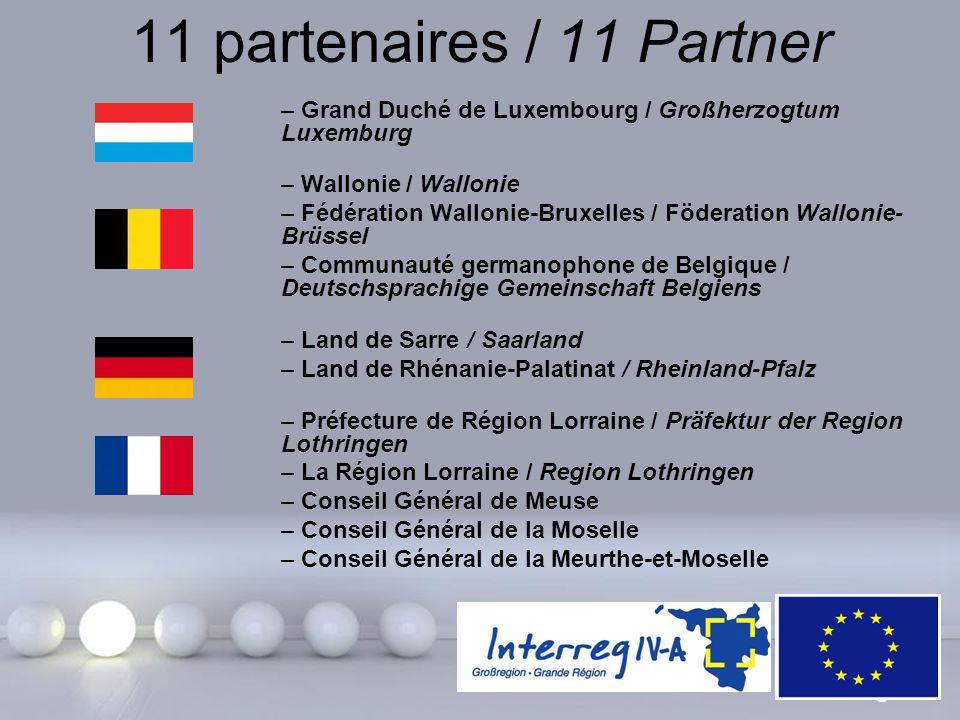 11 partenaires / 11 Partner Grand Duché de Luxembourg / Großherzogtum Luxemburg. Wallonie / Wallonie.