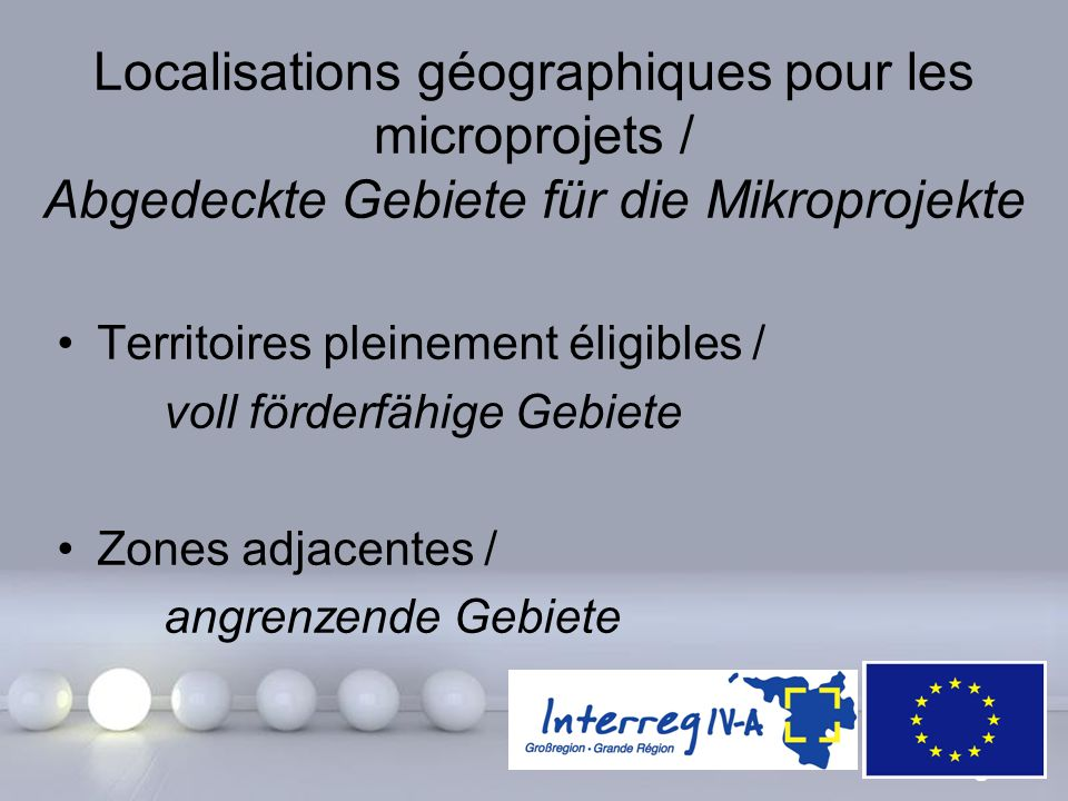 Localisations géographiques pour les microprojets / Abgedeckte Gebiete für die Mikroprojekte