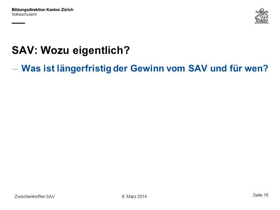 SAV: Wozu eigentlich. Was ist längerfristig der Gewinn vom SAV und für wen.