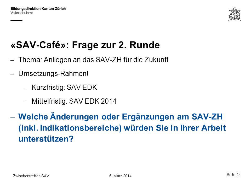 «SAV-Café»: Frage zur 2. Runde