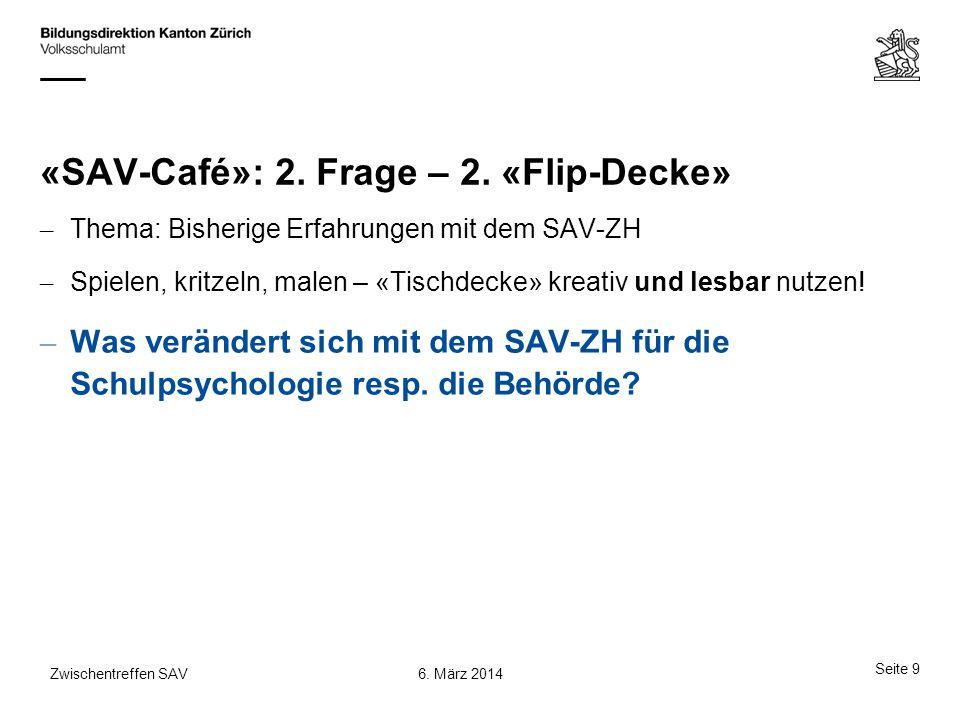 «SAV-Café»: 2. Frage – 2. «Flip-Decke»