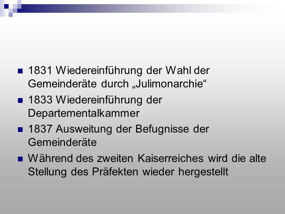 """1831 Wiedereinführung der Wahl der Gemeinderäte durch """"Julimonarchie"""