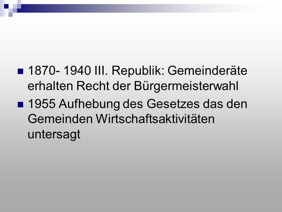 1870- 1940 III. Republik: Gemeinderäte erhalten Recht der Bürgermeisterwahl