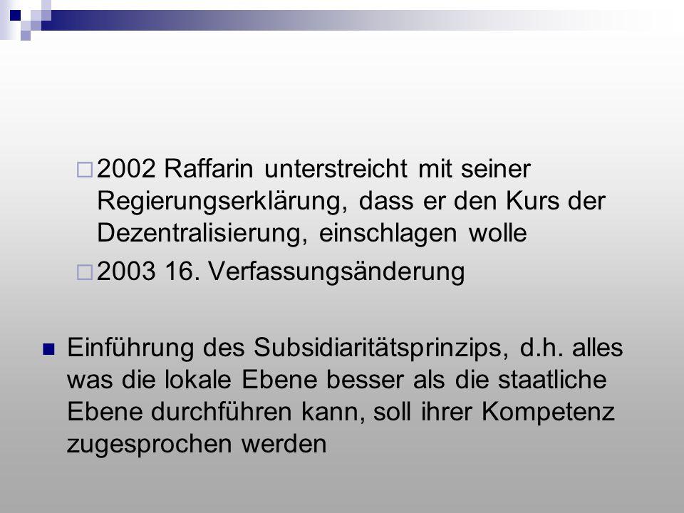 2002 Raffarin unterstreicht mit seiner Regierungserklärung, dass er den Kurs der Dezentralisierung, einschlagen wolle