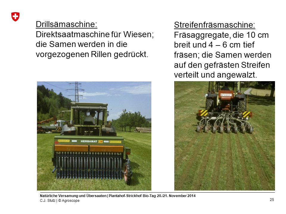 Drillsämaschine: Direktsaatmaschine für Wiesen; die Samen werden in die vorgezogenen Rillen gedrückt.