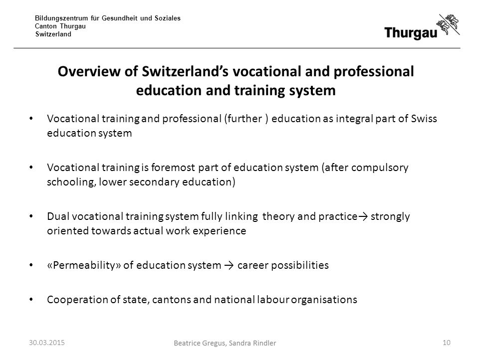 Overview of Switzerland's vocational and professional education and training system