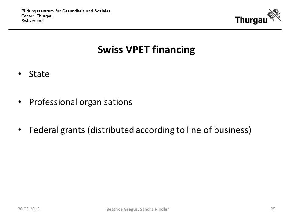 Swiss VPET financing State Professional organisations