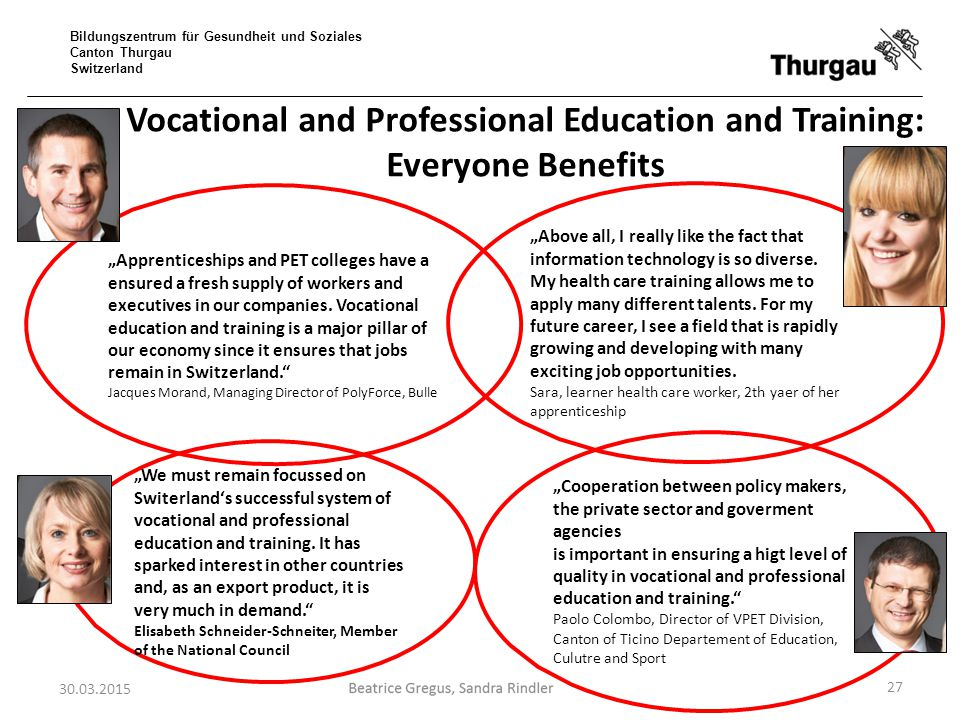Vocational and Professional Education and Training: Everyone Benefits