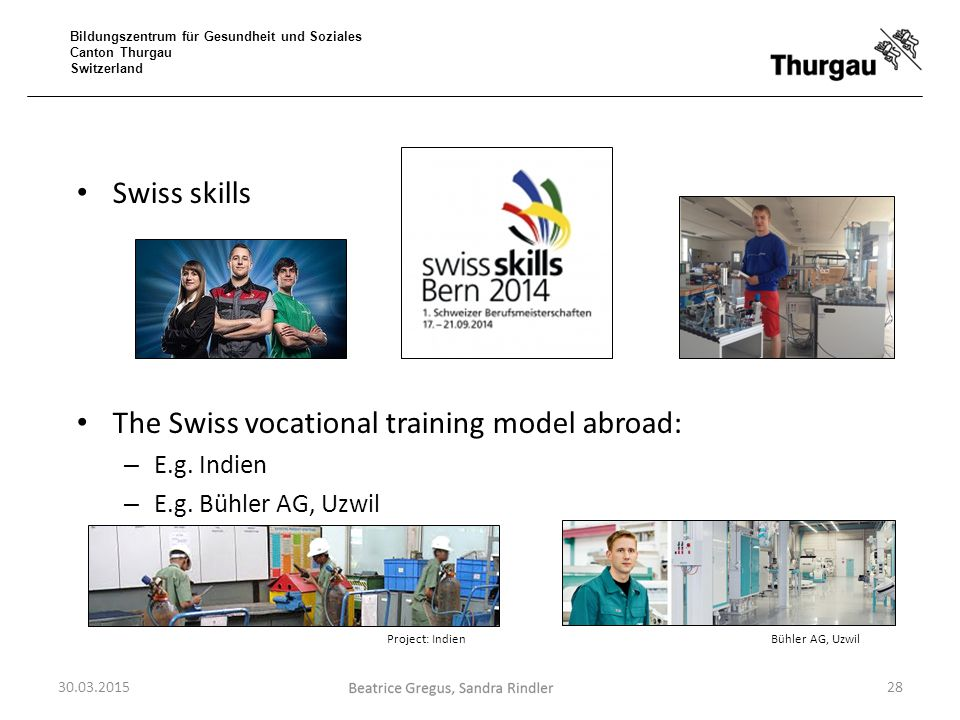 The Swiss vocational training model abroad: