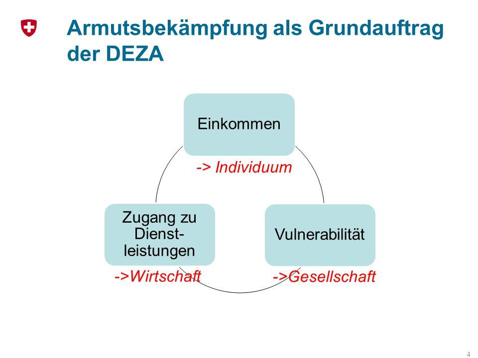 Armutsbekämpfung als Grundauftrag der DEZA