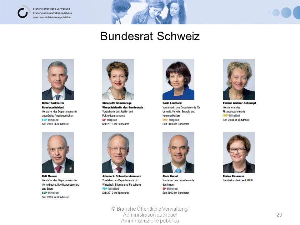 Bundesrat Schweiz © Branche Öffentliche Verwaltung/ Administration publique/ Amministrazione pubblica.