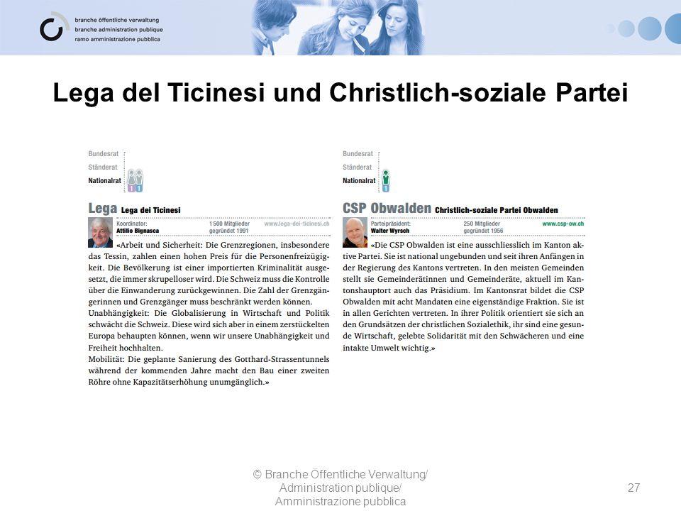 Lega del Ticinesi und Christlich-soziale Partei
