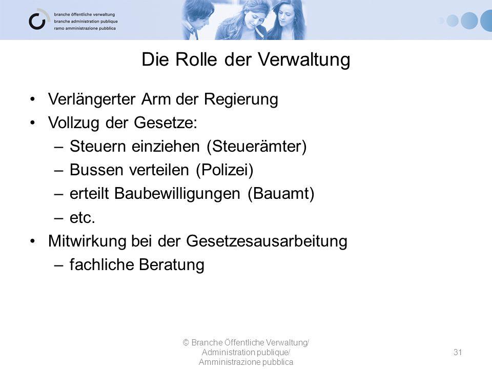Die Rolle der Verwaltung