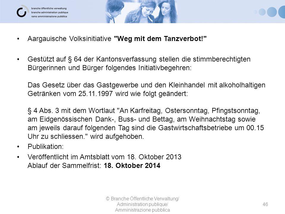 Aargauische Volksinitiative Weg mit dem Tanzverbot!