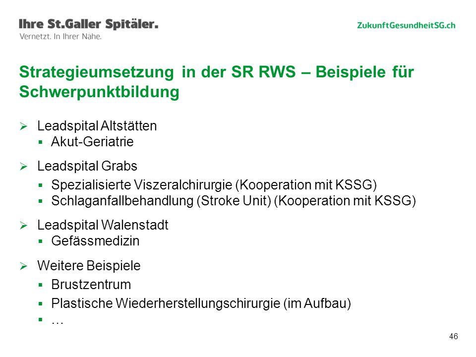 Strategieumsetzung in der SR RWS – Beispiele für Schwerpunktbildung