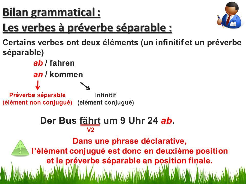 Les verbes à préverbe séparable :