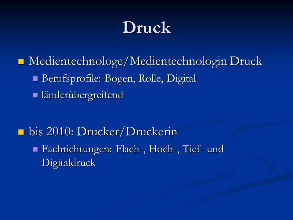 Druck Medientechnologe/Medientechnologin Druck