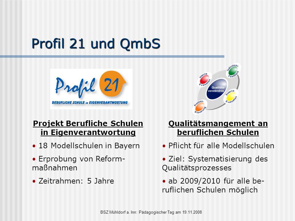 Profil 21 und QmbS Projekt Berufliche Schulen in Eigenverantwortung