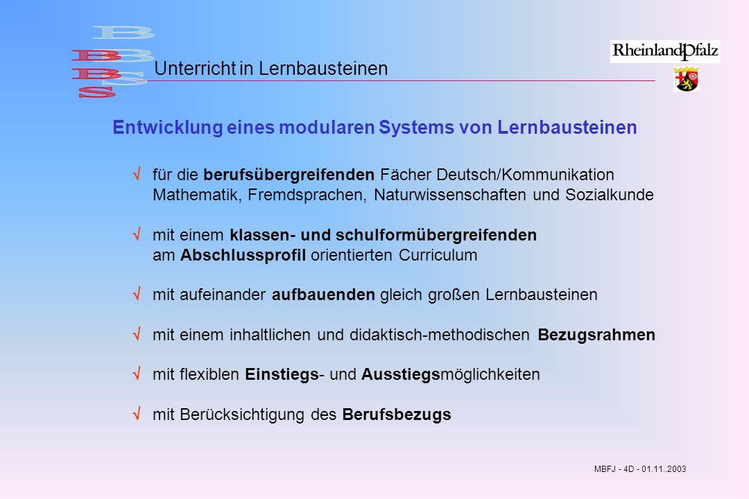 BBS Unterricht in Lernbausteinen