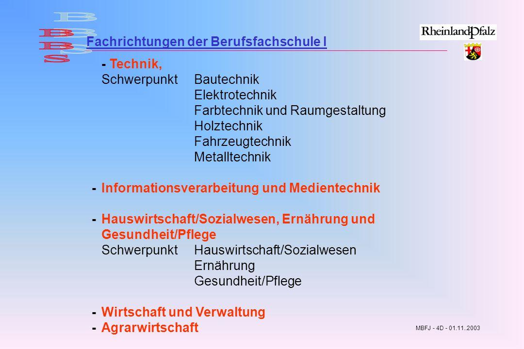 BBS Fachrichtungen der Berufsfachschule I Schwerpunkt Bautechnik