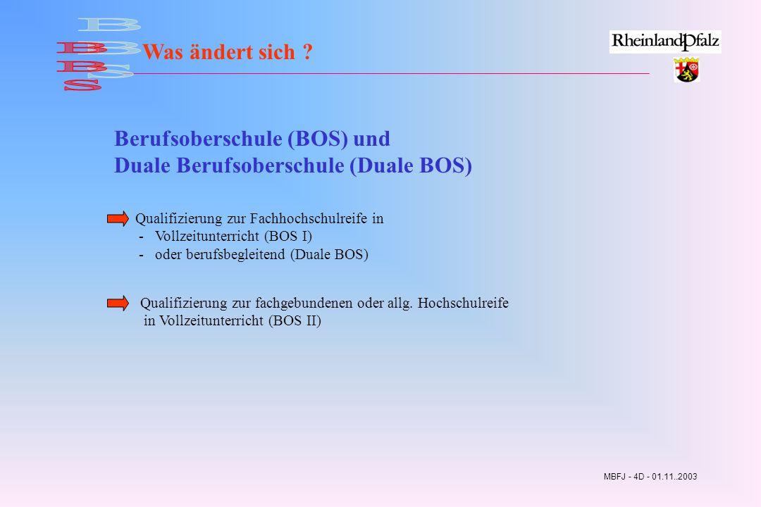 Was ändert sich BBS. Berufsoberschule (BOS) und Duale Berufsoberschule (Duale BOS)