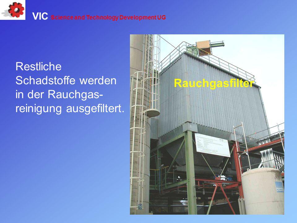 Restliche Schadstoffe werden in der Rauchgas-reinigung ausgefiltert.