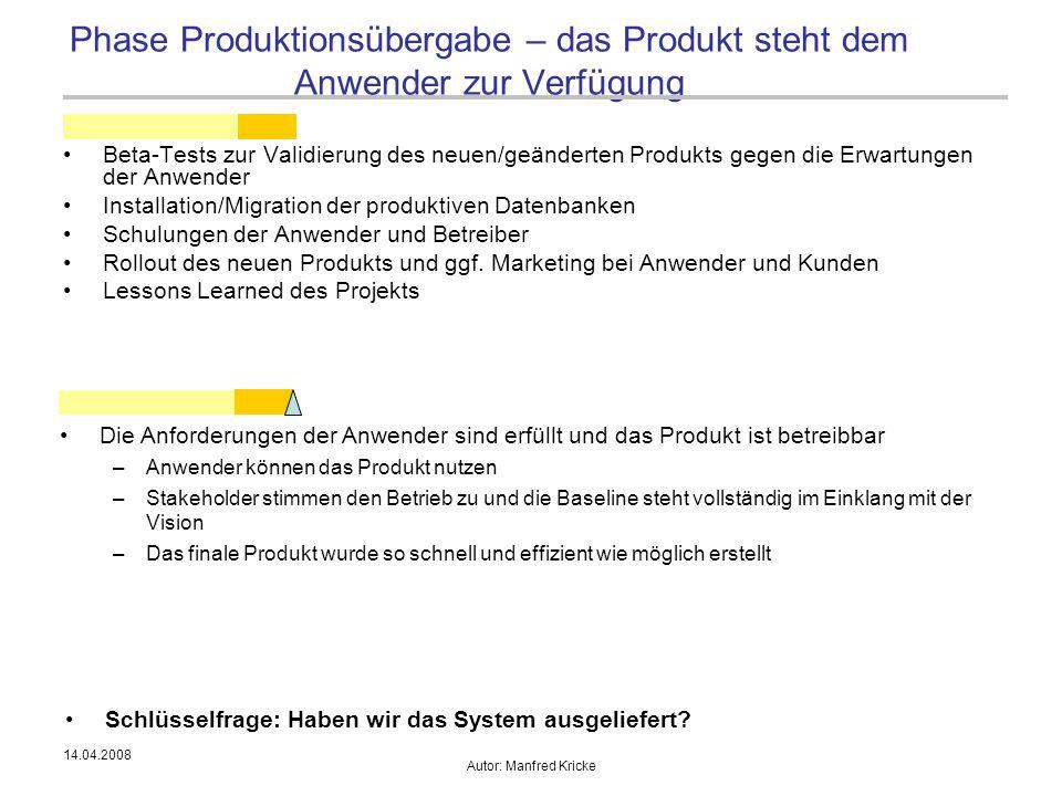 Phase Produktionsübergabe – das Produkt steht dem Anwender zur Verfügung