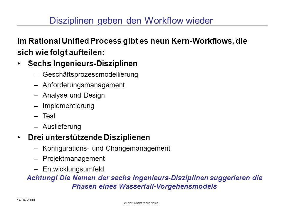 Disziplinen geben den Workflow wieder