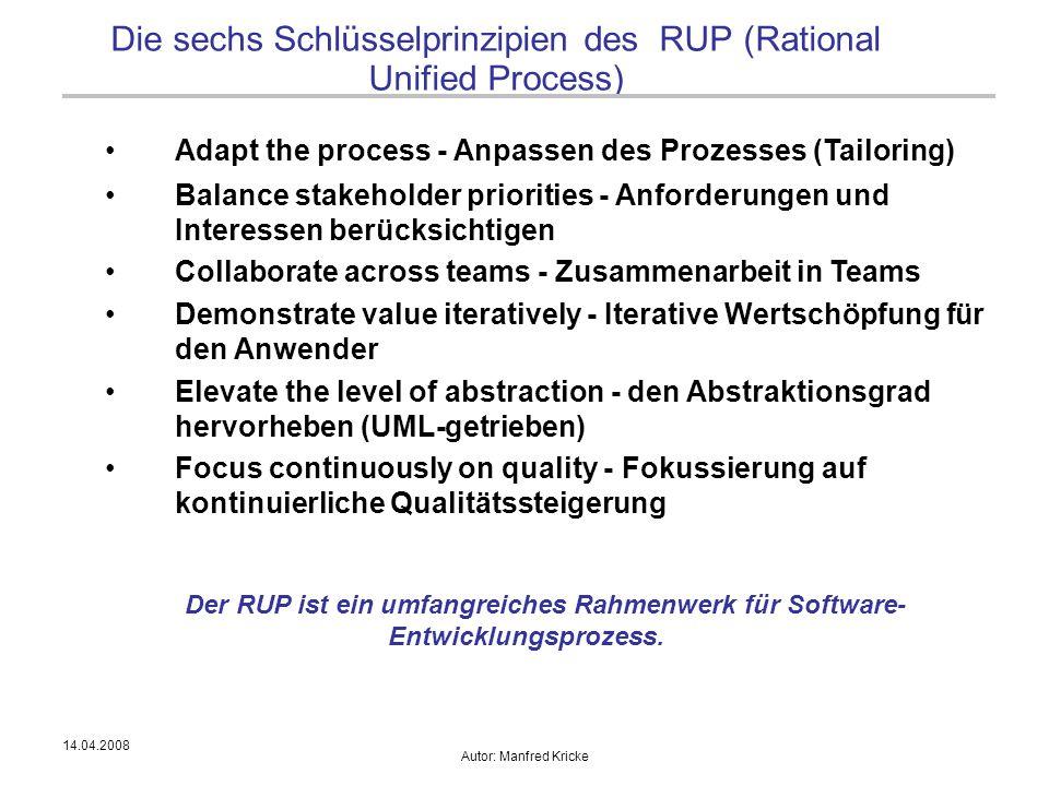 Die sechs Schlüsselprinzipien des RUP (Rational Unified Process)