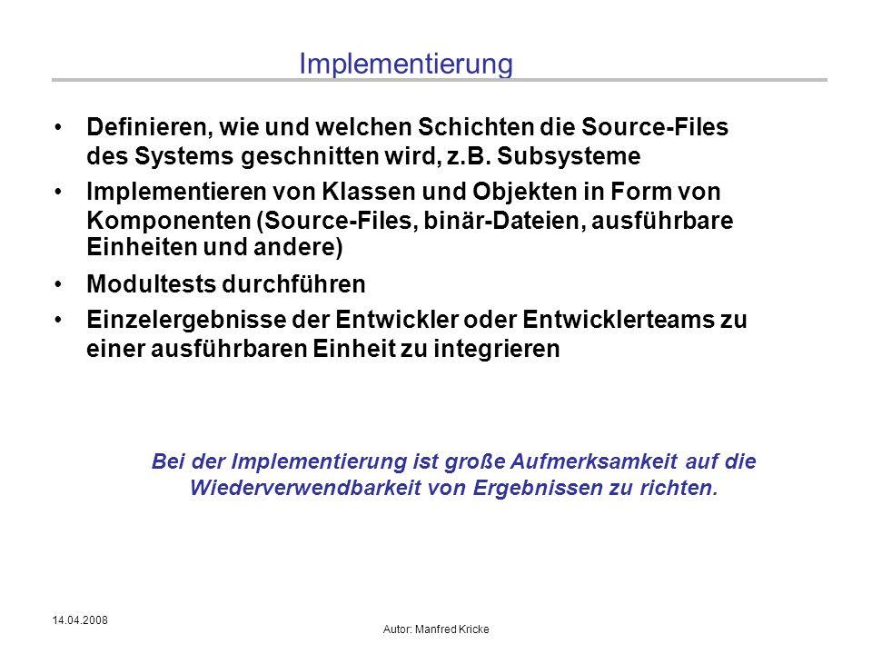 Implementierung Definieren, wie und welchen Schichten die Source-Files des Systems geschnitten wird, z.B. Subsysteme.