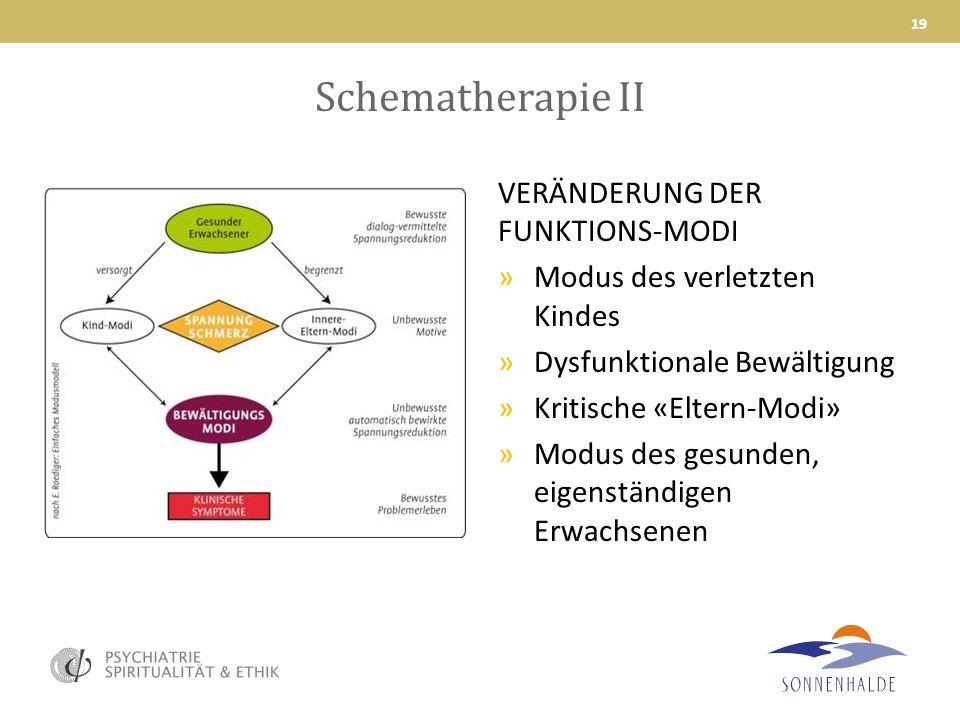 Schematherapie II VERÄNDERUNG DER FUNKTIONS-MODI