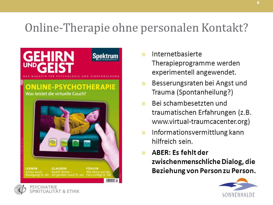 Online-Therapie ohne personalen Kontakt
