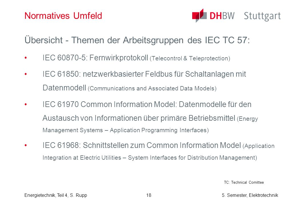 Übersicht - Themen der Arbeitsgruppen des IEC TC 57: